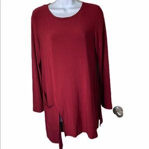 Joesph Ribkoff Red Asymmetrical Tunic Top